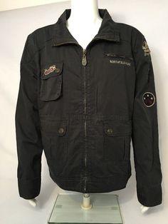 Hard Rock Guitar Company Black Denim Jacket Northfield Park Rocksino Size L NWT