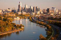 Philadelphia skyline aerial.