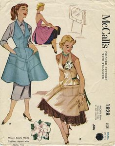 Vintage Apron Sewing Pattern | McCall's 1828 | Year 1953 | Size Small | Bust 30-32 | Waist 25-26½