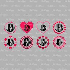 Heart monogram frame SVG DXF EPS , svg file,svg for cricut,svg for silhouette,love svg, heart svg,love you svg,valentines day, by JenDzines on Etsy