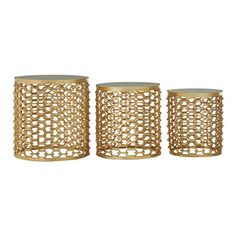 Set of 3 Templar Side Tables, Gold