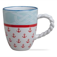 Nautical Mug with Rope Handle from the Rope and Anchor Coastal Collection at Beach Grass: http://www.beachgrassshop.com/collections/tabletop/products/coastal-mugs