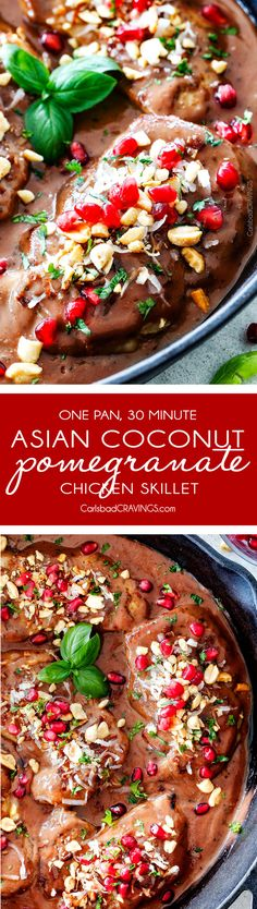 One pan, 30 minute Asian Pomegranate Coconut Chicken Skillet is one of my favorite sweet, savory tangy, sauces ever! I am so in love with the flavors and ease of this dish! Side Dish Recipes, Asian Recipes, Dinner Recipes, Dinner Ideas, Best Chicken Recipes, Turkey Recipes, Slow Cooker Bbq Beef, Fun Easy Recipes, Popular Recipes