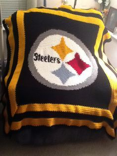 CitiUSA - Pittsburgh Steelers Logo Crochet Afghan Graph Pattern DOWNLOAD, $5.95…