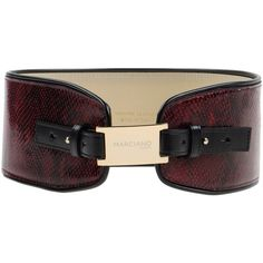 Guess By Marciano Belt ($135) ❤ liked on Polyvore featuring accessories, belts, maroon, real leather belt, snake print belt, genuine leather belt, wide belt and wide leather belts