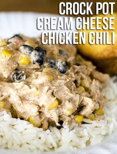 Super easy crock pot recipe for cream cheese chicken chili using cream cheese, corn, black beans, and frozen chicken breasts. A family favorite!