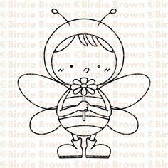 Digital Stamp -- Happy Bee 02
