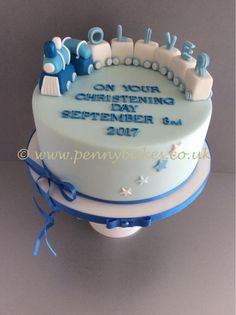 Little train Christening cake by Penny Sue