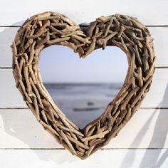 Heart Shaped Driftwood Mirror   Wall Mirror   Coastal Mirror