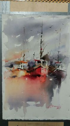 It is magic when artists create so much out of nothing…. Watercolor Architecture, Watercolor Landscape Paintings, Watercolor Drawing, Watercolor Artists, Abstract Watercolor, Watercolor Illustration, Sailboat Painting, Boat Art, Seafarer