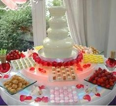 food idea - chocolate fondue fountain in wedding color(s)