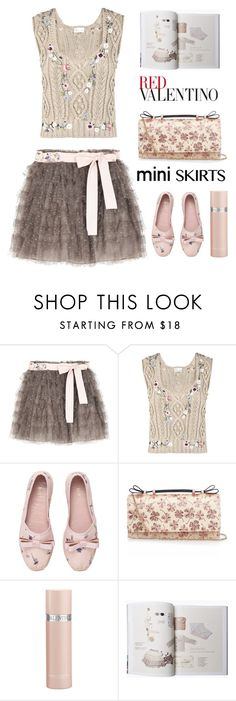 """""""Redvalentino Tiered Tulle Skirt"""" by bodangela ❤ liked on Polyvore featuring RED Valentino, Valentino and miniskirts"""