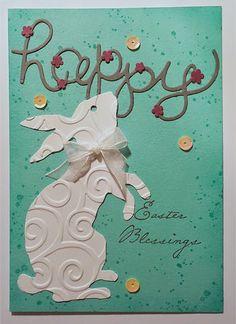 handmade Easter card little or a lot ...  big die cut bunny ... mod look ... like it!