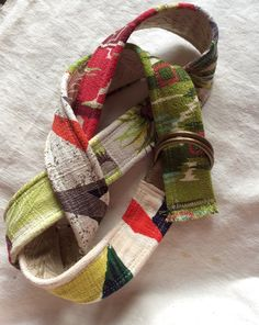 Vintage barkcloth patchwork fabric belt by In With the Old Vintage.