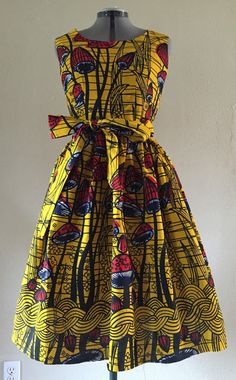 African Wax Print Dress For Fall Sleeveless Knee Length Fit and Flare With Pockets and Tie Belt Cotton Yellow Red Botanical Print Ankara Dress Styles, Kente Styles, African Inspired Fashion, African Print Fashion, African Attire, African Dress, Fashion Sewing, Fit And Flare, Short Dresses