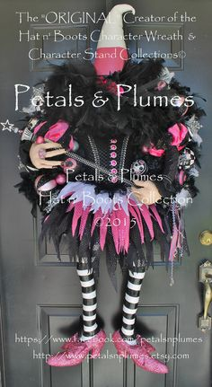 "Pre-Order for ""2016"" Halloween Delivery-CAST a SPELL against Breast Cancer-Candy Corn Witch Wreath-4 Avail-Petals & Plumes-SOLD Out for 2015"