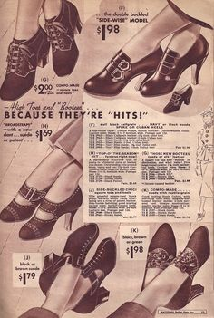 Bella Hess heels, Winter 1936/37.  Oh my word, I have found the shoes that I want... Guess I'll have to go back in time.
