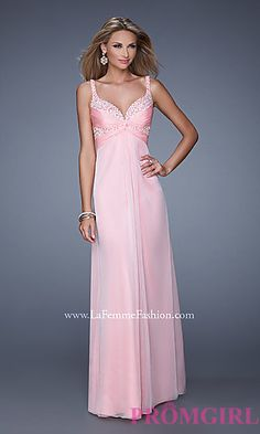 Long Open Back Sweetheart Dress by La Femme at PromGirl.com