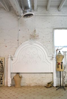 Painted Cottage Shabby White Romantic King Headboard BD33 on Etsy, $1,995.00