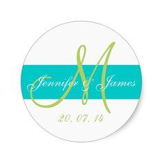 Teal, Green Monogrammed Wedding Classic Round Sticker