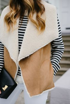 Anine Bing Sweater, Velvet Vest and Sophie Hulme Clutch