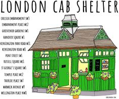 London's cab shelters are an iconic sight. 13 remain in use today, the locations of which are all listed on this hand illustrated mug. Warwick Avenue, Russell Square, Saint George, Hand Illustration, Shelters, Taxi, Buildings, London, Mugs