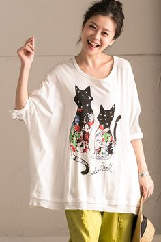 Black Cat White Shorts T-Shirt Summer Women Clothes T0351B