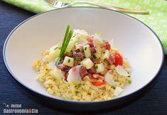 Ensalada de trigo tierno con pera y jamón serrano Risotto, Grains, Salads, Menu, Rice, Carne, Ethnic Recipes, Food, Gastronomia