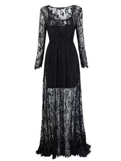Sexy Women See-Through Floor-Length Long Sleeve V Neck Lace Maxi Dress Shopping Online - NewChic