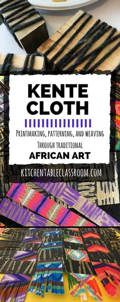African Crafts for Kids- Exploring Kente Cloth Meaning Through Paper Weaving Kente cloth has bright colors, snappy geometric patterns. All of these qualities make this woven cloth a natural for inspiring art work in little people. African Art Projects, African Crafts, African Art For Kids, Classe D'art, Art History Lessons, Atelier D Art, Kente Cloth, Paper Weaving, African Textiles
