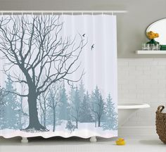 Superbe NEW Fall Trees Print Polyester Fabric Shower Curtain Bathroom Decor  Washable #Ambesonne | Momu0027s House | Pinterest | Fall Trees, Tree Print And  House
