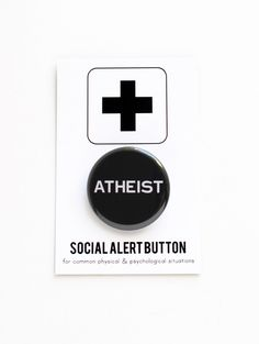 ATHEIST BUTTON agnostic, religious freedom, science, darwin by wordforwordfactory on Etsy https://www.etsy.com/listing/124761035/atheist-button-agnostic-religious