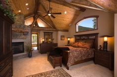 Traditional Master Bedroom Ideas with Wood Ceiling