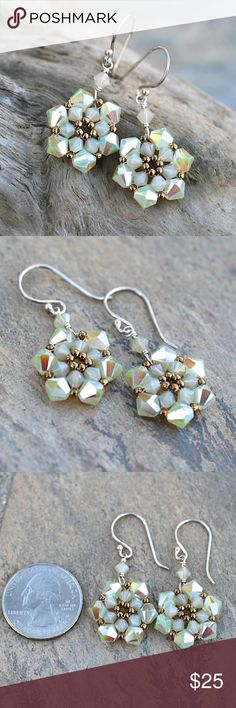 """Swarovski Crystal ABx2 Sterling Silver Earrings Sparkly gorgeous champagne color Swarovski ABx2 crystals and tiny gold seed beads handwoven into flower earrings.  Handmade by me.  Earring length: 1 1/4""""  Ear wires are sterling silver.  No trades. Jewelry Earrings"""