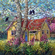Nurture by Greta Guzek, 36 x Acrylic on Canvas Cute Cottage, Canadian Artists, Canadian Painters, Art Academy, Landscape Art, Flower Landscape, Mosaic Art, Unique Art, Home Art