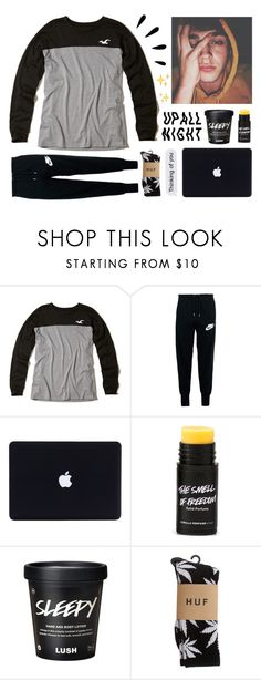 """""""- ̗̀ late night facetime w jonah"""" by krecioch ❤ liked on Polyvore featuring Hollister Co., NIKE, Old Navy and HUF"""