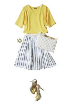 ストライプスカートで叶えるクール&フェミニンな初夏の爽やかコーデ ― A-ファッションコーディネート通販|ビストロ フラワーズ トウキョウ