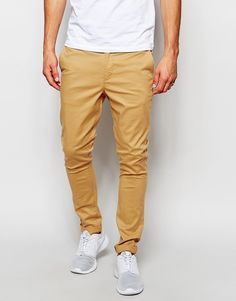 Chinos by ASOS Stretch twill Concealed fly Side pockets Two back pockets Super skinny - cut closest to the body Machine wash Cotton, Elastane Our model wears a cm regular and is tall Super Skinny Chinos, Trendy Mens Fashion, Models, Khaki Pants, Menswear, Asos Uk, Man Shop, How To Wear, Clothes