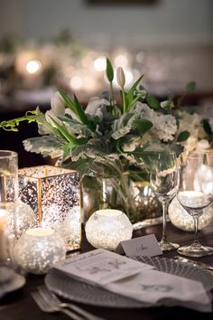 ann whittington events elegant rehearsal dinner southern style country club votive candles and candleholder mercury glass white tulip centerpiece