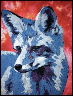 Red Fox, Blue Fox by Kate Themel. Viewpoints9 quilt challenge