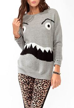 I want this<3 Monster Face Sweater | FOREVER21 - 2027706025