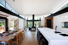 A Melbourne home designed by Alexandra Buchanan Architecture creates a cascade of contemporary family living spaces in a bushfire area. Australian Architecture, Architecture Design, Pavilion Architecture, Sustainable Architecture, Residential Architecture, Melbourne House, Rural Retreats, Fireplace Design, Fake Fireplace