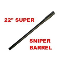 """22"""" Tippmann 98, US Army, Carver One 2 Piece SUPER SNIPER Paintball BARREL by 3Skull. $39.95. Description The latest innovation to paintball, one super light barrel with removable fake silencer. Extremely polished on the inside for greater efficiency and accuracy. This 22"""" Super Sniper barrel is not only going to make your marker look cool but will enhance your accuracy too.. Save 50%!"""