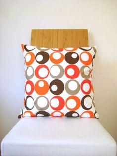 Orange Pillow Cover - White Fabric with Orange, Brown, Beige Circles Print - Gift for Her, for Mom - Ready to Ship Decor. $18.00, via Etsy.