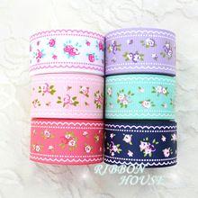 ( Mix 6 cores ) 1 '' ( 25 mm ) fita de gorgorão impressa fitas da série floral bonito(China (Mainland))