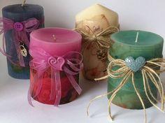 Candles. Velas decoradas con papel de arroz o servilletas. De Manualidades la buhardilla en facebook.