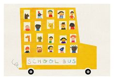 School bus  print    Printed with pigment inks on archival matte paper (200 gr)    Print measures about 8 x 11.5 (A4) including a white border for