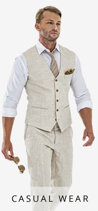 Linen pants and just a vest? (In grey or blue for Logan)