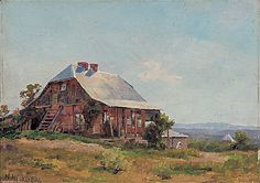Hans Heysen At Friedrichstadt, near Hahndorf Tim and I often drive past this barn, it is in a poor state now and we dream of renovating it to its former glory. Australian Bush, Man Images, The Old Days, Australian Artists, Art Lessons, Landscape Paintings, Old Things, Country Living, Barns