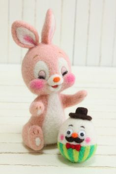 "ふたごバニーのイースター | Needle felted bunnies ""Twin Bunnies on Easter"""